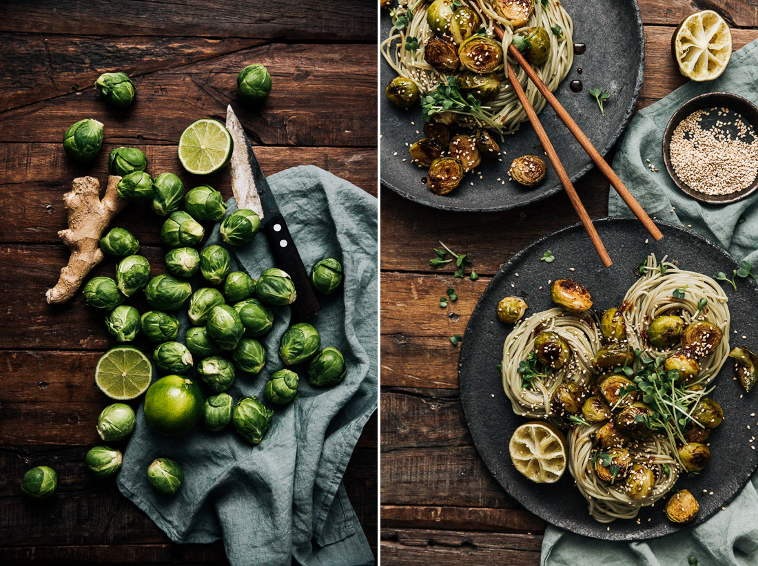 piroggi.com | Brussel Sprouts with Rice Noodles and Soya Sauce Reduction