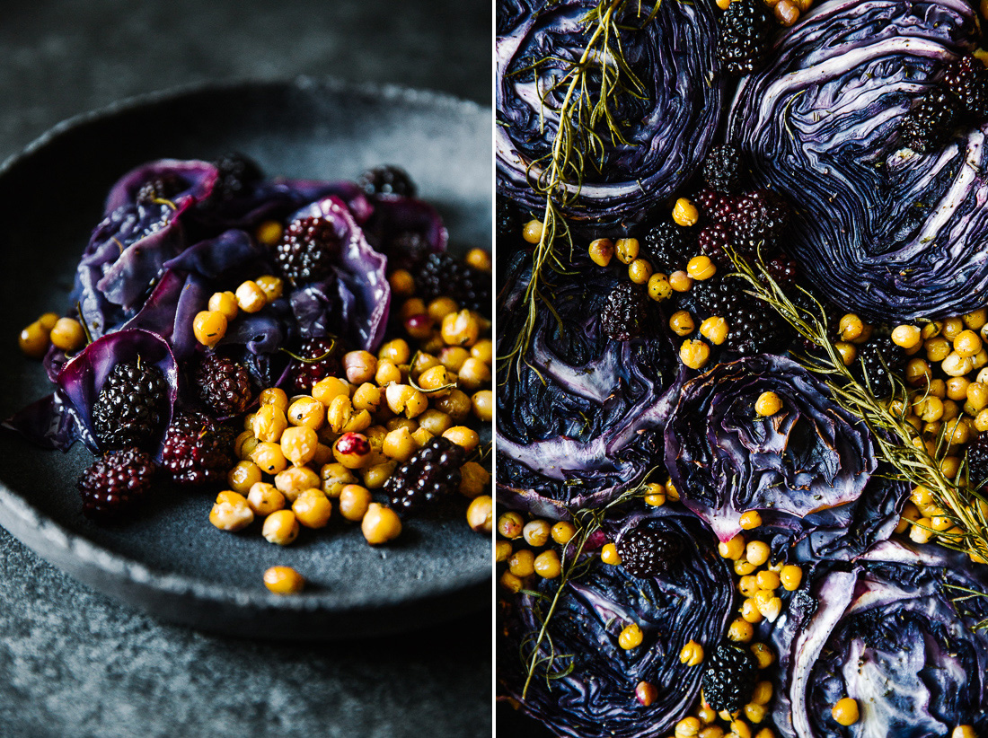 piroggi.com | Roasted red cabbage with chickpeas & blackberries