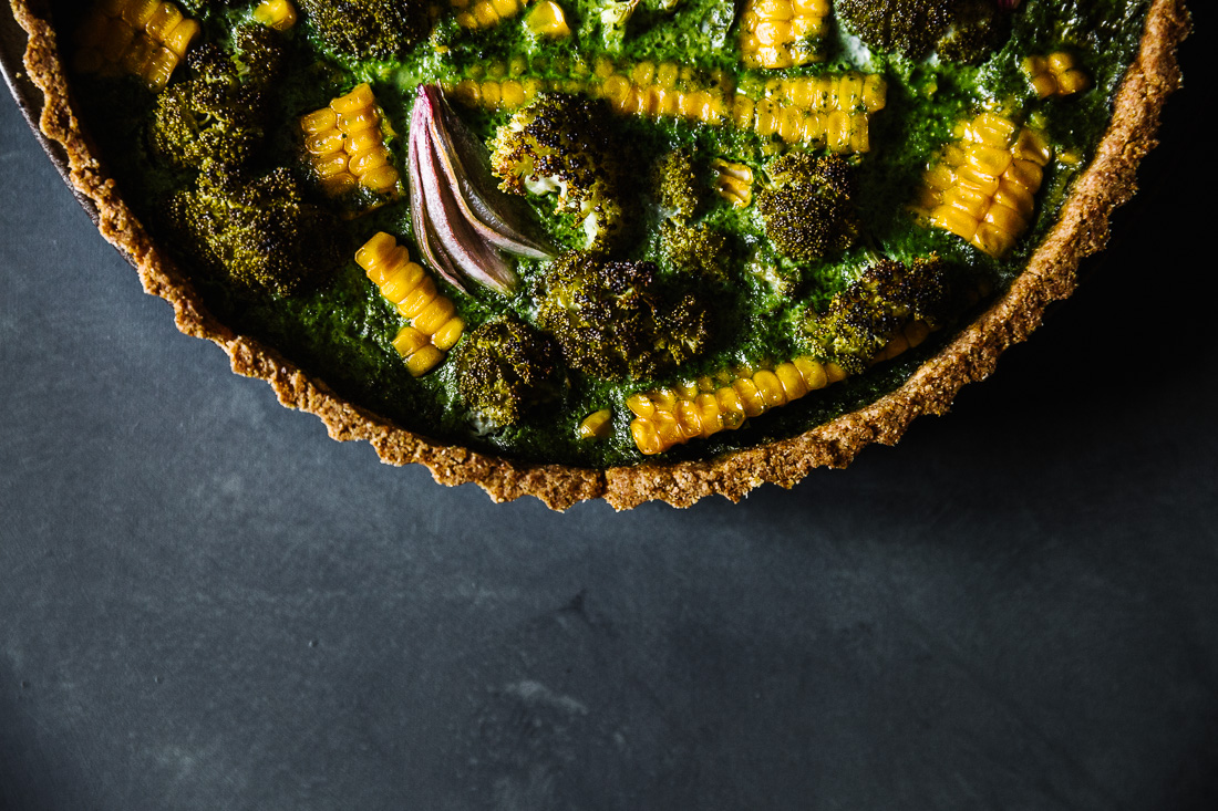 piroggi.com | Broccoli, corn & spinach tarte