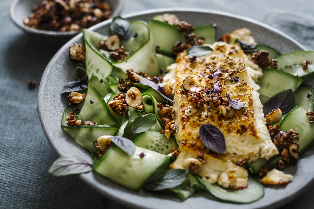 piroggi.com | Baked Feta with cucumber salad & crunch