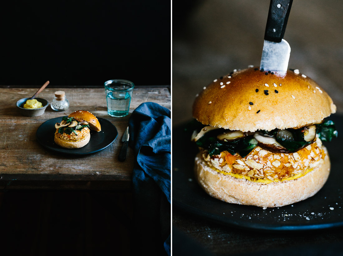 piroggi.com | Pumpkin burger with chard & mushroom topping