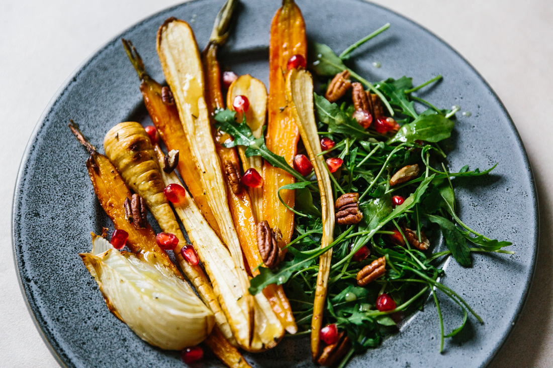 piroggi.com | Roasted carrots & parsnip salad with arugula