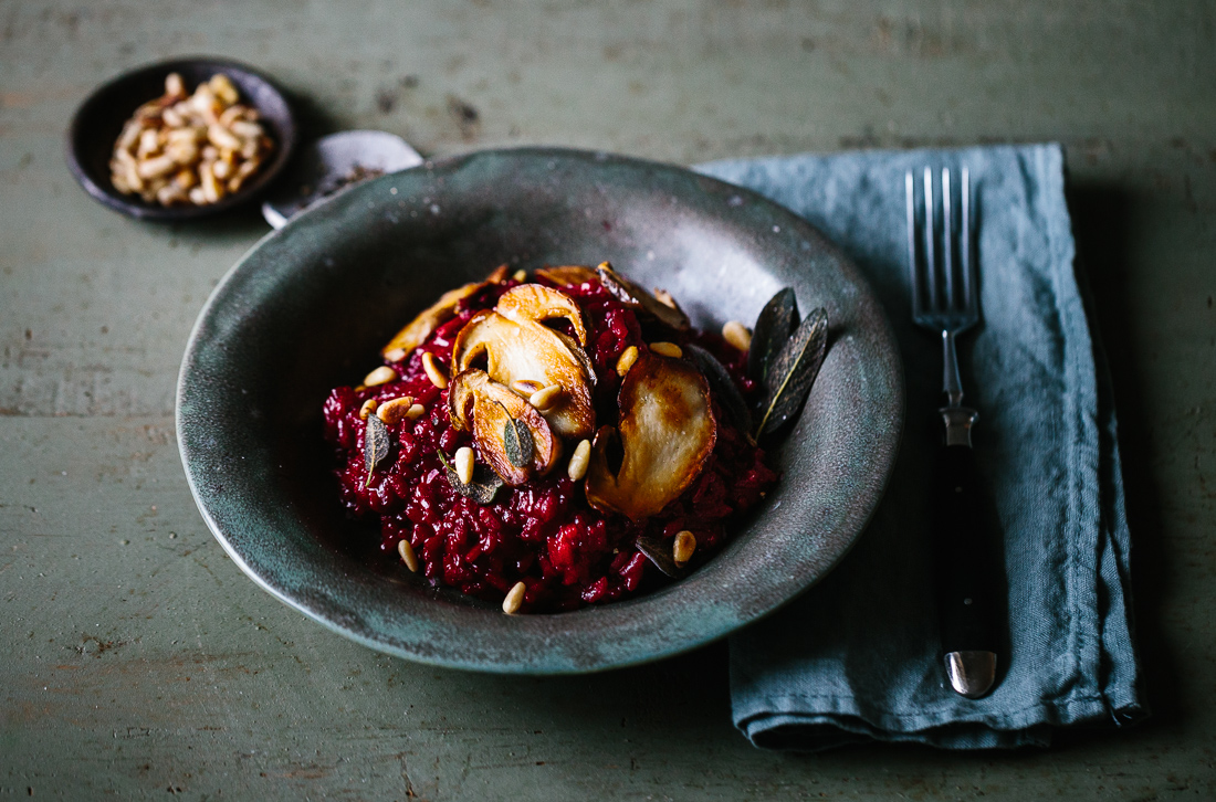 piroggi.com | Red beetroot risotto with porcini & fried sage