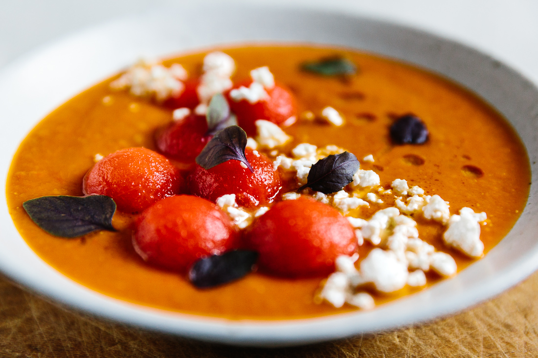 piroggi.com | Tomato soup with watermelon and feta